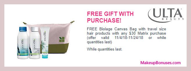 Receive a free 4-pc gift with $30 Matrix purchase #ultabeauty