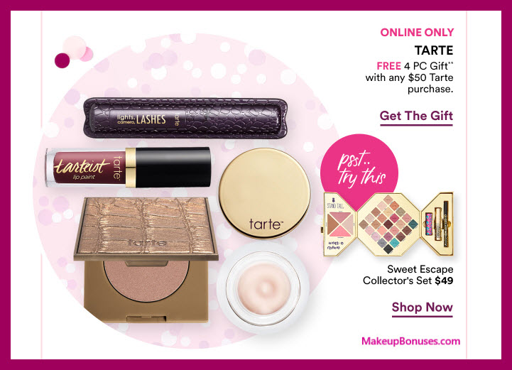 Receive a free 4-pc gift with $50 Tarte purchase #ultabeauty