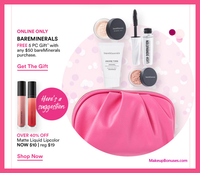 Receive a free 5-pc gift with $50 bareMinerals purchase #ultabeauty