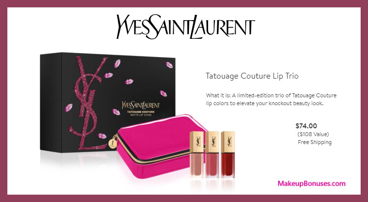 Tatouage Couture Lip Trio - MakeupBonuses.com #YvesSaintLaurentBeautyUSA #YSLbeauty #YSL_Beauty #nordstrom