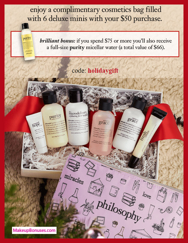 Receive a free 7-pc gift with $50 philosophy purchase #lovephilosophy