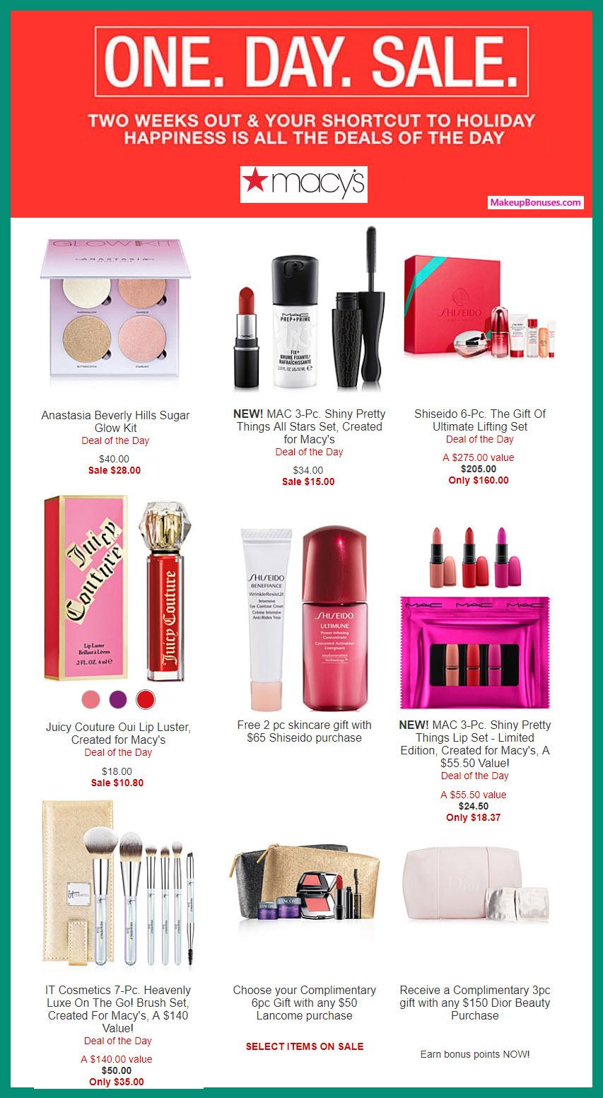 Beauty Deals incl #MACYS 1-day Sale #ABHcosmetics #benefitcosmetics #Dior #itcosmetics #JuicyCouture #lancomeUS #MACcosmetics #ShiseidoUSA #SmashboxCosmetics #tartecosmetics #UrbanDecayCosmetics