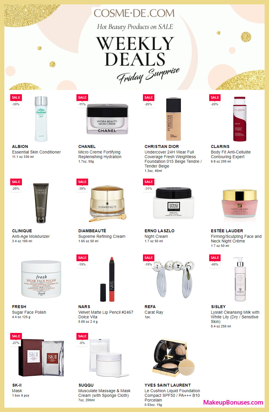 Cosme-De Weekly Specials on Luxe Beauty Brands #COSME.DE #cosmede #cosme_de #MakeupBonuses