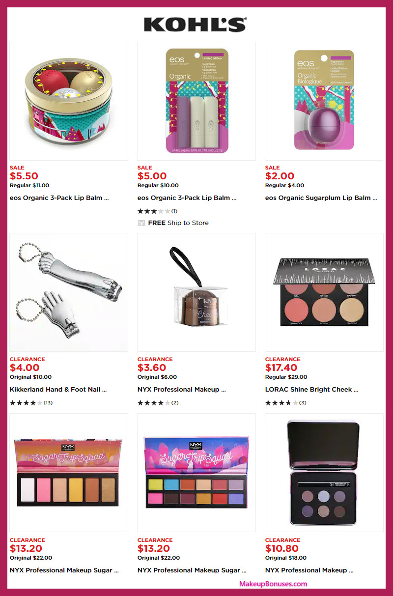 Kohl's Beauty Holiday Clearance SALE (eos, NYX, LORAC + more!) #MakeupBonuses #Kohls #eos #NYXcosmetics