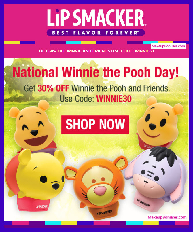 Lip Smacker Winnie the Pooh and Friends Lip Balms on SALE #LipSmackerBrand #Lip_Smacker #lips #makeupbonuses #WinnieThePooh #PoohBear #WinnieThePoohDay