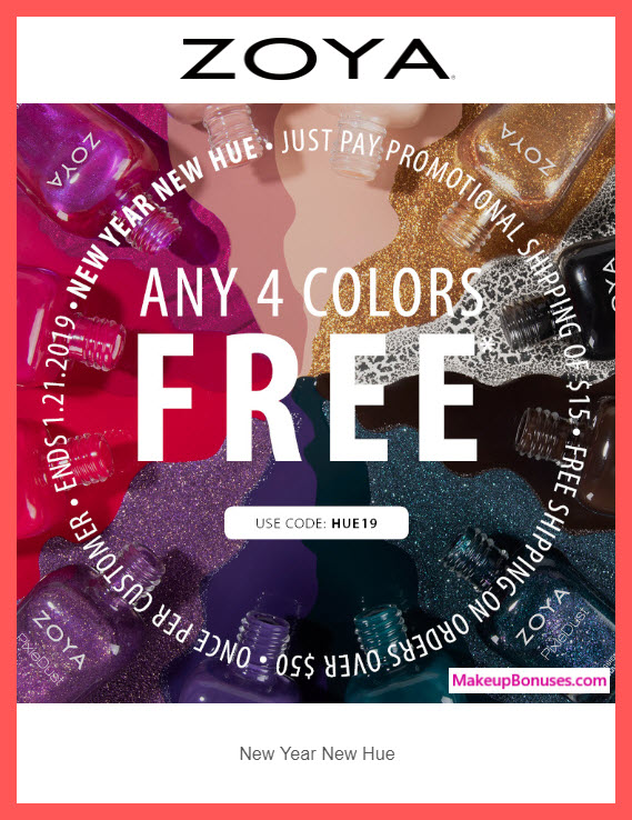 ZOYA 4 Nail Polishes for FREE Promotion #ZoyaNailPolish #MakeupBonuses